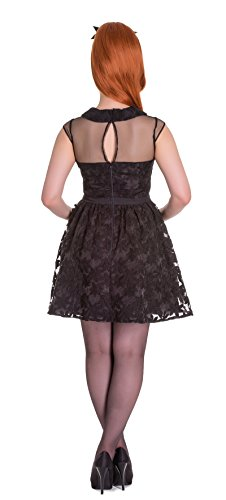 Hell Bunny SHIRELLE Vintage FLORAL 50s Bow Mesh DRESS Kleid Rockabilly Schwarz