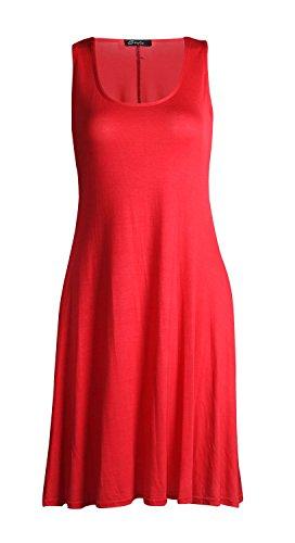 Fast Fashion – Patineur Robe Plaine Manches Évasées Nageur - Femmes Rouge