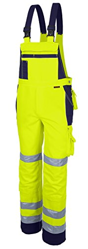 Qualitex Warnschutz-Latzhose Arbeits-Hose PRO MG 245 - gelb/marine - Größe: 72