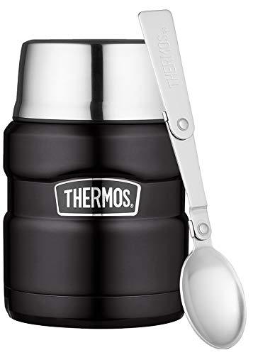 Thermos 4001.232.047 Speisegefäß Stainless King, Edelstahl Mat Black 0,47 Liter, integrierter Löffel, 9 Stunden heiß, 14 Stunden kalt, BPA-Free