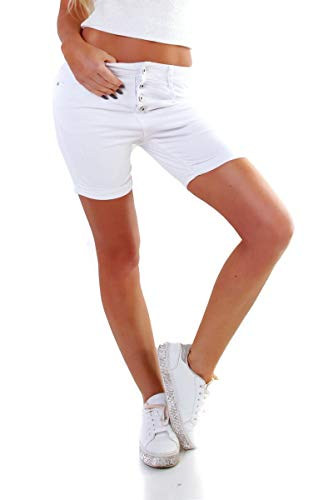 OSAB-Fashion 5854 Damen Jeans Bermuda Hose Boyfriend Baggy Denim Shorts Knopfleiste