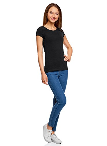 oodji Ultra Damen Tailliertes T-Shirt Basic (3er-Pack) Schwarz (2900N)