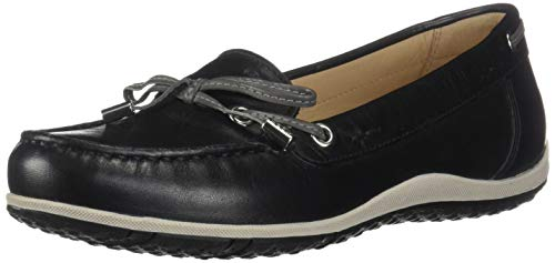 Geox Damen D Vega MOC B Mokassin, Schwarz (Black/Dk Grey C0005), 41 EU - Patent-penny Loafer