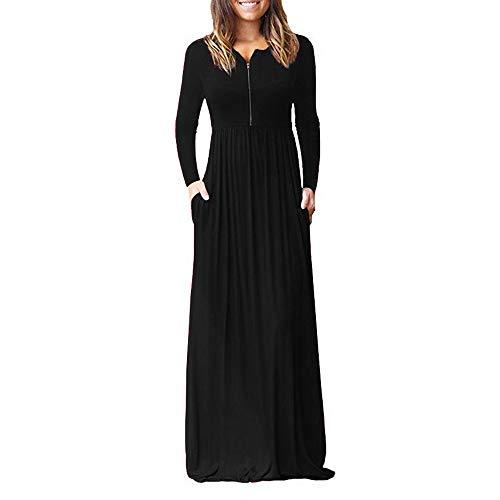 Frauen Kleid Langarm lose Plain Taschen Maxi Kleider Casual Reißverschluss lang