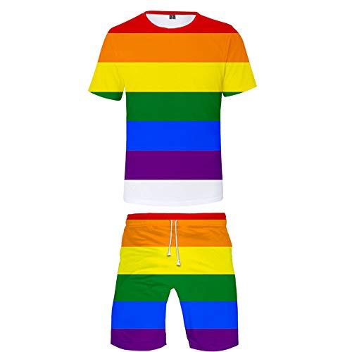 INSTO 3D Gedruckt T-Shirt Kurze Hose 2 Stücke Einstellen Beiläufig Sport Kleider Stolz Monat LGBT Drucken Kleidung Fitness Tragen Trend Freizeit / A1 / S -