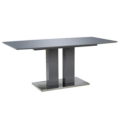 vidaXL Esstisch Rechteckig Esszimmertisch Küchentisch Tisch Speisetisch Esszimmer Küche Hochglanz Grau 180x90x76cm MDF Pulverbeschichteter Edelstahl -