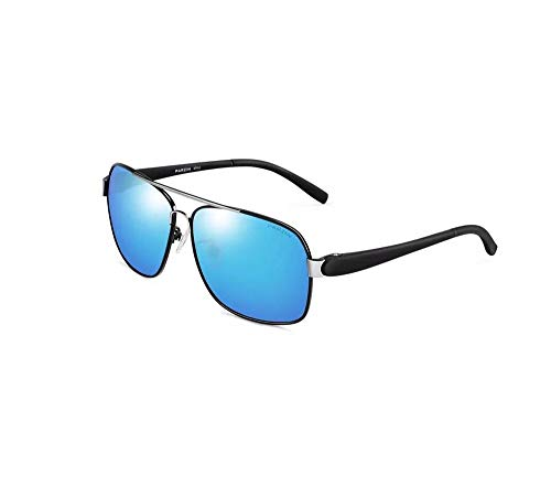 HongTeng Sonnenbrillen Herrenmode Gentleman Polarized Brillen UV Schutzbrillen Multicolor Optional (Farbe : Reflective Film Ice Blue)