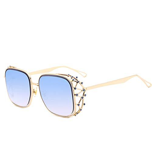 Yiph-Sunglass Sonnenbrillen Mode Persönlichkeit Graceful Crystal Full Frame Sonnenbrille UV-Schutz für Frauen Männer. (Farbe : Blau)