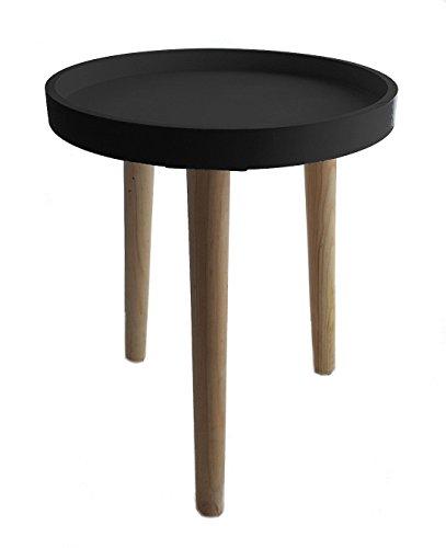 Deko Holz Tisch 36x30 cm - schwarz - kleiner Beistelltisch Couchtisch Sofatisch (Nachttisch-kleiner Tisch)