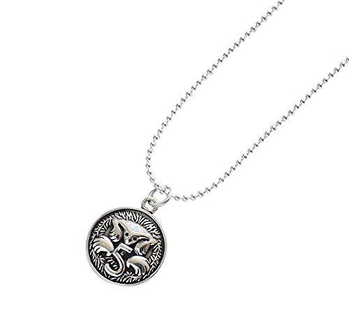 QCYISI Damen S925 Sterling Silber Anhänger Halskette, Runde Münze Langen Abschnitt, Vintage Old Craft, Mode doppelseitige Muster - Lagerung Silber-münze