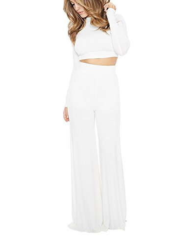 SaiDeng Femmes Décontractée Longue Manche Tops Large Jambe Pantalon Clubwear 2 Pcs Set Blanc