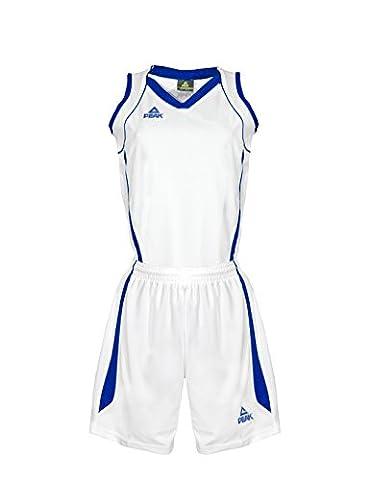 Peak Sport Europe Uniforme de basket-ball Maillot et Short pour femme 2XS Blanc/bleu royal