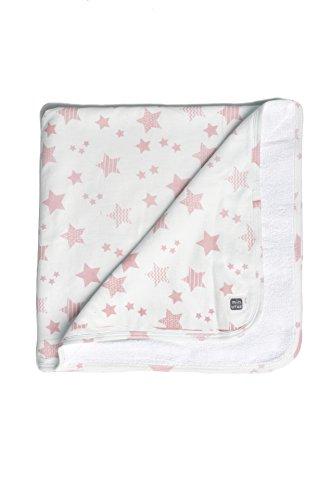 Arrullo 100% Algodón de Doble Capa (una cara lisa y la otra rizada) para Bebé - Colección Etoile, diseño de estrellitas(rosa y blanco) - Minutus
