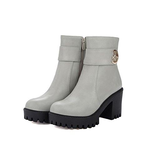 VogueZone009 Damen Rein Hoher Absatz Rund Zehe Stiefel mit Metalldekoration Grau