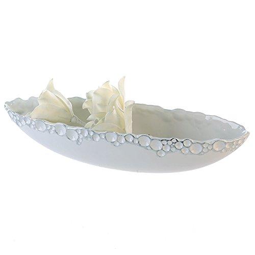 Casablanca Schale Gaps weiss/silber L 51 cm 2er Set B 51 x H 14 x L 12 cm Keramik weiss glasiert/silber gewischt