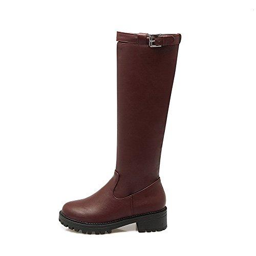 AgooLar Damen Rein Niedriger Absatz Ziehen auf Rund Zehe Stiefel mit Reißverschluss, Braun, 34
