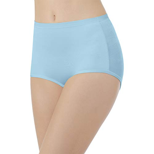 Vanity Fair Damen Body Caress Brief Panty 13138 Unterhose, Blauer Topas, Large - Slip Bikini Hanes