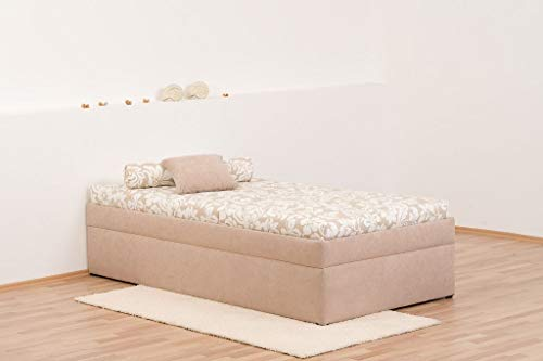 Dreams4Home Polsterliege 'Kampen 54' - Gästebett,mit Bettkasten,beige Gemustert, Liegefläche:90x200 cm, Härtegrad:Härtegrad 2