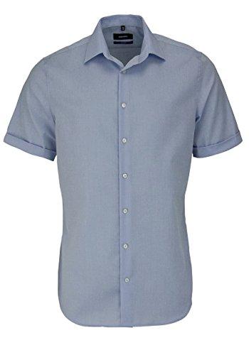 Seidensticker Slim Fit kurzarm Hemd Schwarze Rose - hellblau, Kragenweite:44