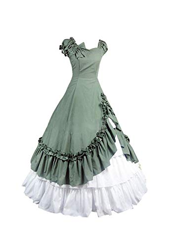 Frauen Mittelalterliche Kostüm - Tollstore Gothic Lolita Kleid, mittelalterliche viktorianischen Königin Kostüm Renaissance Maxikleid Partykleid Abendkleid Damen Grün M