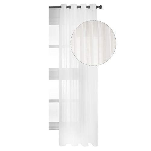 WOLTU VH5971ws, Gardine transparent mit Ösen Boucle Streifen Dekoschal Leinen-Optik Stores Fensterschal Ösenschal Vorhang für Wohnzimmer Schlafzimmer Landhaus 140x245 cm Natur, (1 Stück) -