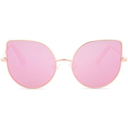 Sojos bambini occhiali da sole per 3-10 anni cateye specchio bambino sk101 con oro telaio/pieno rosa lente