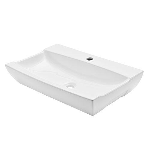 [neu.haus] Waschbecken aus Keramik (62,5x39,5cm) weiß Gäste-WC