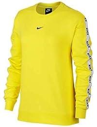 Nike W NSW Crew Logo Tape Camiseta de Manga Larga, Mujer, Amarillo (OPTI