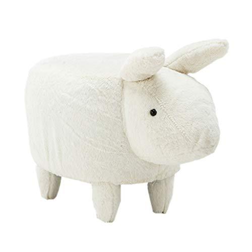 GAO XING SHOP Multifunction Hocker Kaninchen,Das Festen Hölzernen Tieränderungs-Schuh-Schemel, Baby-Nette Weiche Karikatur-kleine Bank Modelliert (Color : White) -