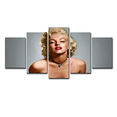 inwand HD Malerei Marilyn Monroe 5 Stück Set, Dekoration Wandmalerei Schlafzimmer Wohnzimmer Kunst Mode Ölgemälde ()