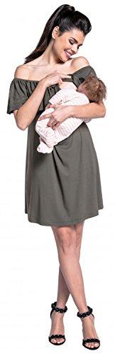 Zeta Ville - Robe d'allaitement couches encolure bardot maternité - femme - 624c Kaki