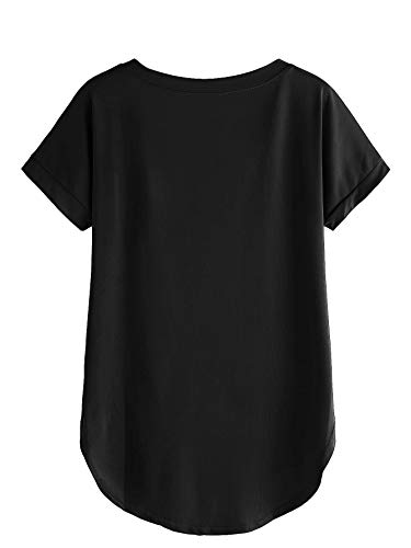 Fabricorn Plain Black Up and Down Cotton Tshirt for Women (Black, XX-Large)