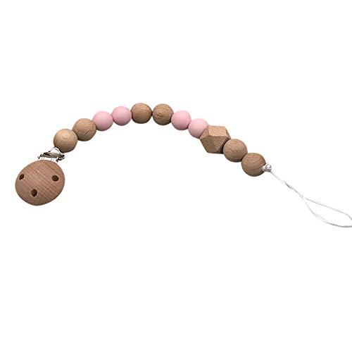 H.eternal Baby Schnuller Clips Klemmen Dummy Beißring Kette Halter Kautabletten Perlen Kinderkrankheiten Spielzeug Kinderkrankheiten Relief Schmerzen Dusche Geschenk für 0-3 Jahre (Rosa) -