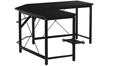 sogesfurniture Computertisch Eckschreibtisch in L-Form, großer Gaming Schreibtisch PC Tisch Winkelkombination Arbeitstisch Bürotisch, (150+150)*55 * 76 cm, Schwarz LD-Z01-BH