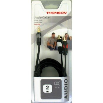 Thomson - Audio Cable, 2 RCA plugs - 3.5 mm stereo jack plug, gold-plated, 2.0 m - Black (1 Accessorie) (Thomson Rca Stereo)