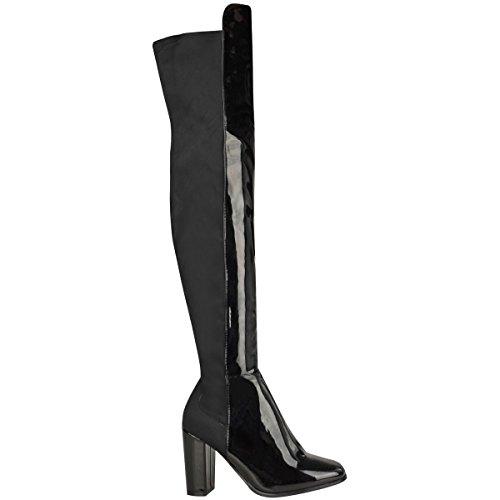 Neuf Pour Femmes Au-dessus Du Genou Bottes Bas Talon Bloc Élastique Chaussures Pointure Noir verni