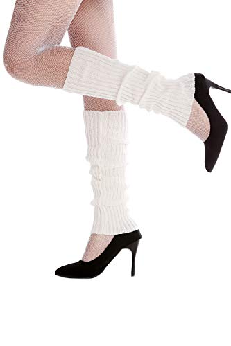 DRESS ME UP - W-020A-white Stulpen Beinwärmer Beinstulpen im 80er Jahre Stil weiß ()