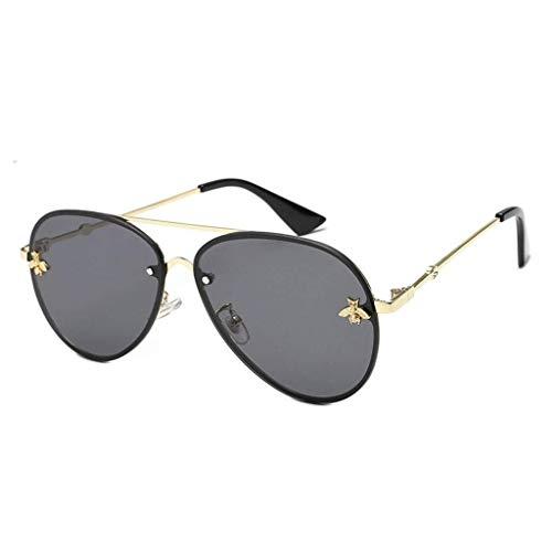 ZALIANG Sonnenbrille-Schutzbrille, übergroße Fahrer-Flieger-Sonnenbrille-Augen-Schutz-Männer und der Spiegel-Flache Linsen-Metallrahmen der Frauen (Color : Black)
