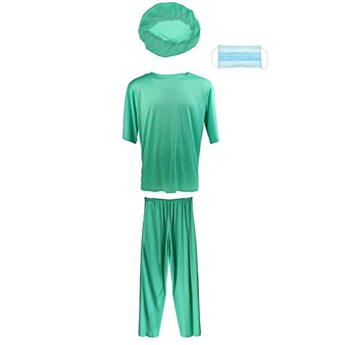 Gazechimp Herrenkostüm Kostüm Scrub Doktor Arzt Chirurg Karneval Fasching (Scrubs Kostüm Chirurgen)