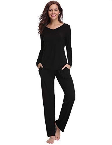 Abollria set pigiama donna lungo invernale scollo a v pigiama da donna due pezzi in cotone con maniche lunghe pigiama donna
