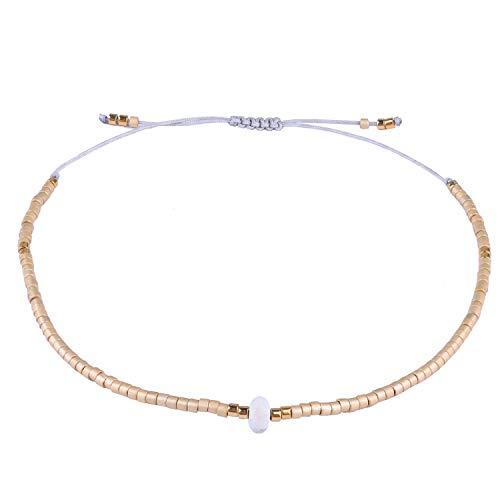 KELITCH Armband Frauen Männer Japanischen Rocailles Delicate Stein Freundschaftsarmbänder Handmade Einstellbare String Armreif Bettelarmband Armbänder (Gold)