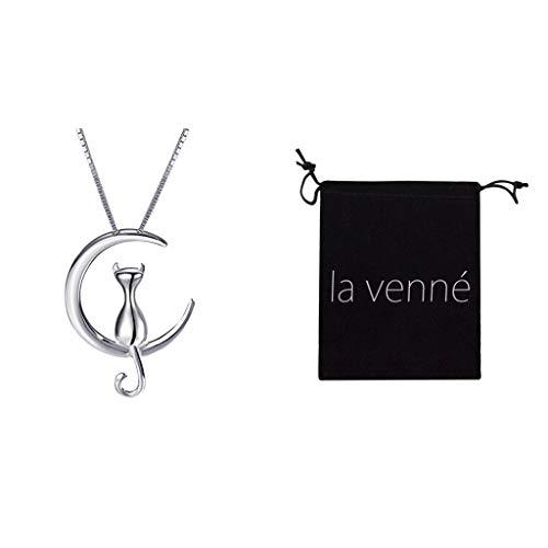 Mypace Anhänger Gold Silber 925 Für Damen Mode Mode Einfache Temperament Nette Mond Halskette Katze Halskette Schlüsselbein Kette (Silber)