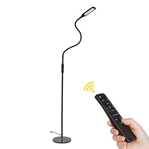 Stehlampe LED mit größerem Lampenkopf, NACATIN 9W dimmbare Stehleuchte mit Touch & Fernbedinung Steuerung, Moderne falterbare LED Leselampe mit Memory- & Timerfunktion, Schwanenhals Flexibel 500lm 3000-6500K 5 Helligkeitsstufen und 5 Farbtemperaturen(Schwarz)