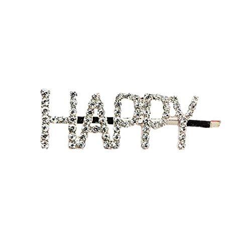 LKJH Haarspange Englischer Buchstabe Haarspange Strass Wort Frauen Haarspangen Haarschmuck, Glücklich