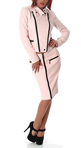 Voyelles Damen Kostüm Blazer Jacke Rock Kombination Sexy 2-Teiler Outfit Biker-Look Bikerjacke Lederjacke Leder-Optik Lifestyle Design, Rosa, Gr. 38/40 (Etikett: L)