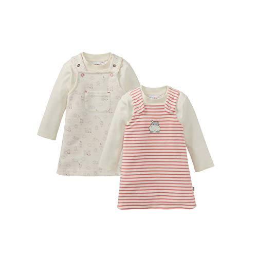 Bornino Eltern für dich Wendekleid & Shirt langarm (2-tlg. Set) - wendbares Baby-Kleidchen mit passendem Langarmshirt - offwhite/rosé gestreift