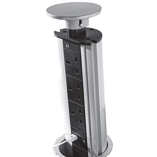 Edelstahl-power-tower (Pop-Up/Pull 3Way/Gang Tower Netzteil Power Verlängerung-2USB-Ports-Edelstahl versteckt Küche/Büro Schreibtisch/Küche Arbeitsplatte Steckdose-Roll-Flush/Nische montiert-Cablefinder)