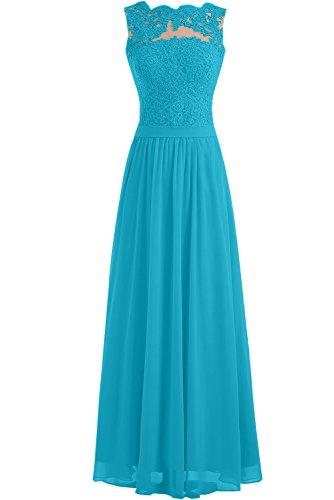 Toscana vestito lungo, elegante, senza cuciture, in Chiffon - abito da sposa, da sera, per damigella d'onore Blau
