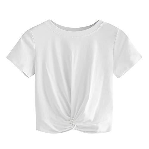 Kurzarm-twist (Weant Damen Sommer T-Shirts Riemen Twist Tie up Cross Solide Kurzarm Crop Top Saum Streifen Shirt Junges Mädchen Oberteil Bluse)