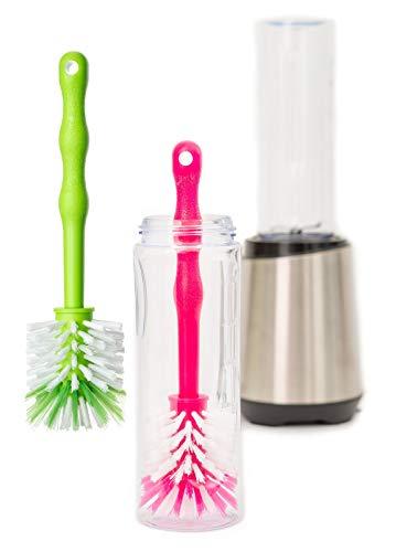 2er Set Spezial Reinigungsbürsten für Smoothie Maker, Mixer, Standmixer, Smoothiemaker Glas Flasche Becher to Go Behälter, Hochleistungsmixer, Stabmixer, Smoothies Blender (Pink/Grün)